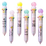 Shulaner 多色ボールペン 筆記具 10色 自動 ボールペン おしゃれ 文房具 オフィス用品 6本 (002)