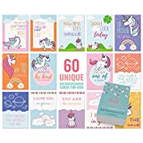 60 Motivational Cards - Business Card Sized - Unicorn Themed Encouragement Cards/Kindness Cards Perfect as Lunch Box Notes for Kids, Thank You Notes, Kudos Cards, Inspirational Cards