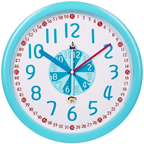 掛け時計 壁掛け時計 知育時計 連続秒針 アナログ 電池固定...