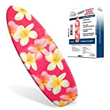 """Ezy Iron Padded Ironing Board Cover Thick Padding, Slashes Your Iron Time, Heat Reflective Fits Standard and Large Boards 15"""" x 54"""" Premium Heavy Duty Cover and Pad (Pink Frangipani)"""
