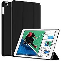 JEDirect iPad 9.7 (2018 / 2017) ケース PUレザー 三つ折スタンド オートスリープ機能 (ブラック)