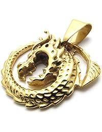 [テメゴ ジュエリー]TEMEGO Jewelry メンズステンレススチールヴィンテージペンダントゴシックドラゴンネックレス、ゴールデン[インポート]