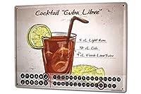 カレンダー Perpetual Calendar Bar Party Cocktail Cuba Libre Tin Metal Magnetic