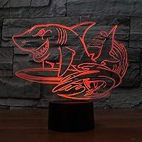 WZYMNYD 3d led 7色クリエイティブシャークサーフィンモデリンググラデーションデスクランプusbナイトライト寝室ベッドサイド動物の装飾子供ギフト