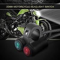 Keenso 22mm オートバイ ハンドルバー スイッチ オン/オフスイッチ 汎用 多機能 バイク ハンドルバー フォグライト ヘッドライト(レッド+グリーン)