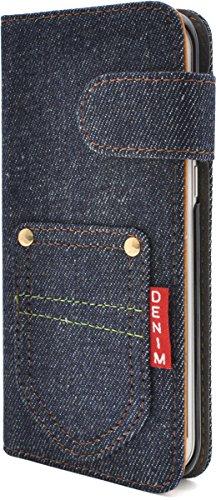 PLATA Galaxy ギャラクシー S7 edge エッジ SC-02H / SCV33 用 ポケット デニム デザイン スタンド ケース ポーチ 手帳型 カバー ジーンズ DSC02H-63A-A