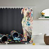 子犬子供用カーテン かわいい シャワーカーテン ポリエステル製 防水 防カビ 防滴加工 厚手速乾性 カーテンリング付