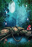 aofoto 3x 5ft赤ちゃん写真スタジオの背景幕幼児用写真撮影背景Dreamy Forest Moon NightツリートランクMushrooms Grass子幼児Kid Artistic Portraitファンタジーシーンビデオ小道具