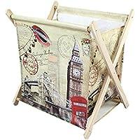 KitMall マガジンラック おしゃれ デザイン インテリア リビング 折りたたみ 収納 雑貨 カバン置き (ロンドン)