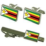 ジンバブエの国旗カフスボタンタイクリップマッチングボックスギフトセット