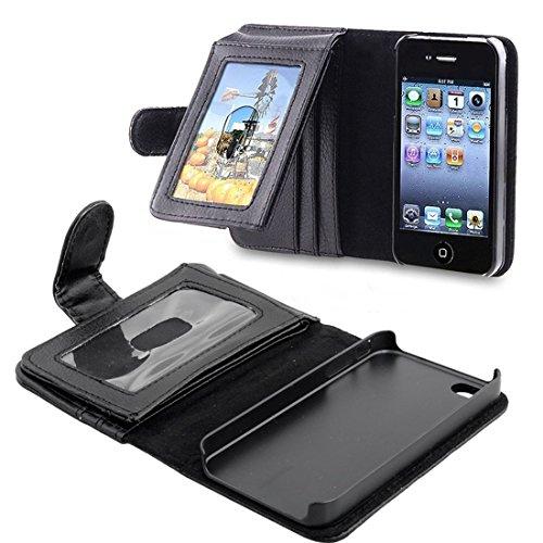 iphone4 4S専用ケースカバー手帳型/財布型ケース 耐衝撃+防塵フルカバータイプiphone4 4Sポケット、カード機能付きレザーケースカバーカラー:黒色