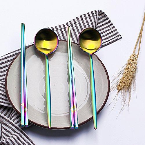 LEKOCH 箸 スプーン セット ステンレス製 カトラリーセット 二膳セット (カラフル)