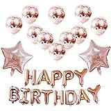 ソフィー 誕生日飾り付け 25風船セット HAPPY BIRTHDAY デコレーション パーティー お祝い 装飾 きらきら ローズゴールド