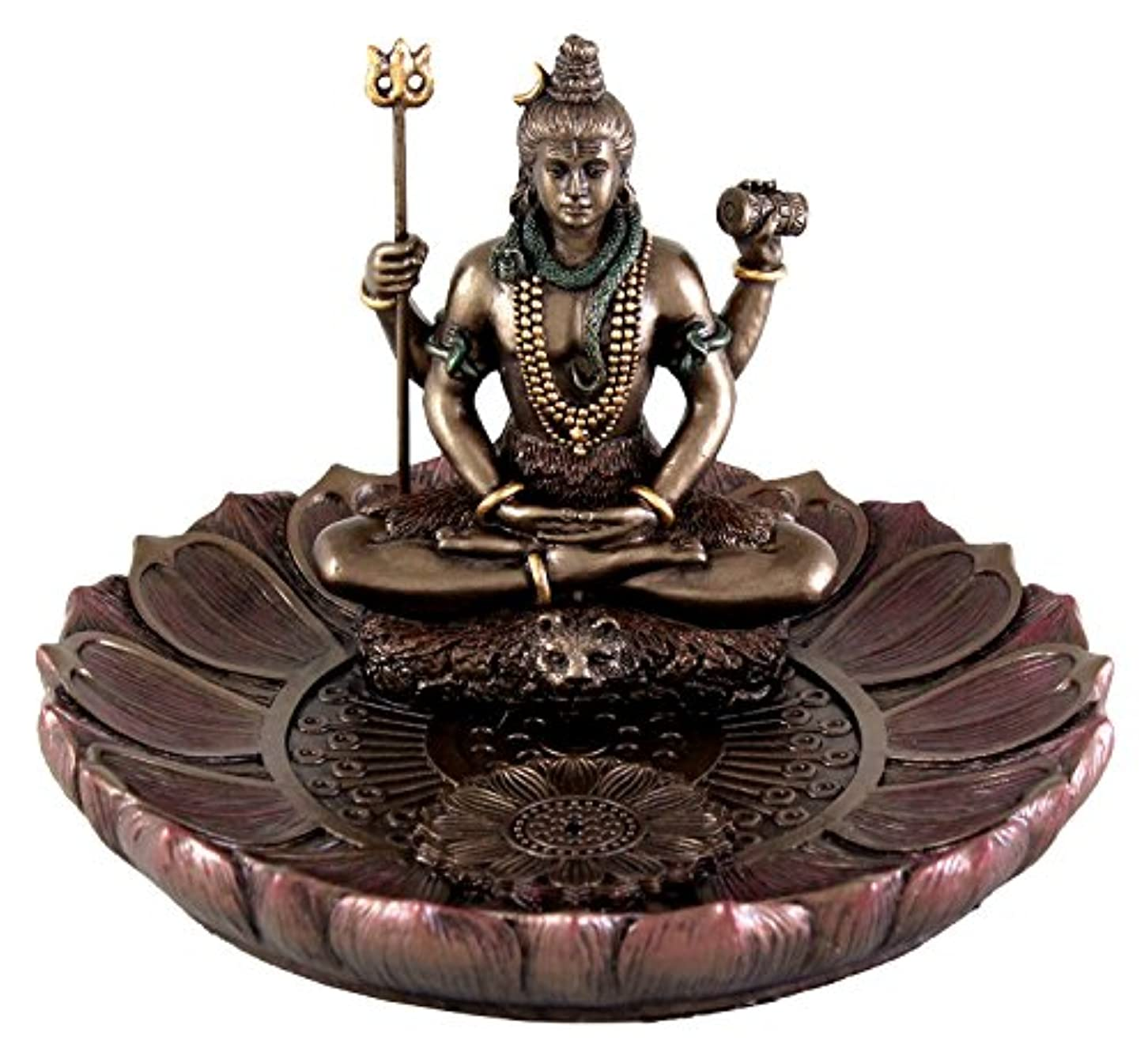 ダウンマットレス補充Hindu God Shiva in Meditation Round Incense Holder Plate Incense Burner by Top Collection