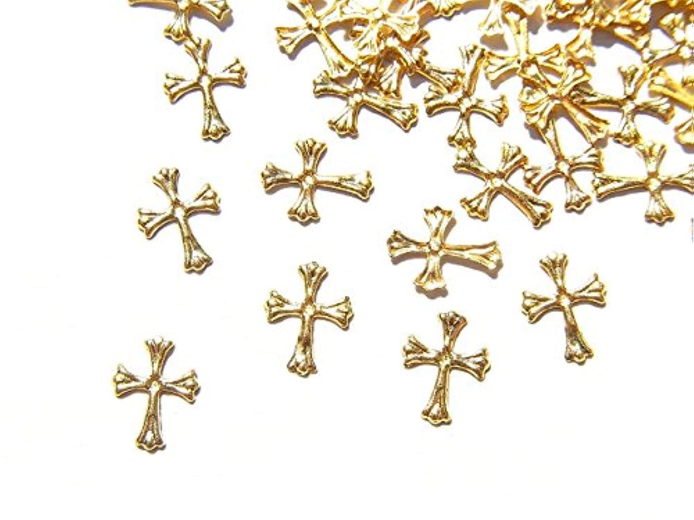 松インド徒歩で【jewel】ゴールド メタルパーツ クロス (十字架) 10個入り 6mm×4mm 手芸 材料 レジン ネイルアート パーツ 素材
