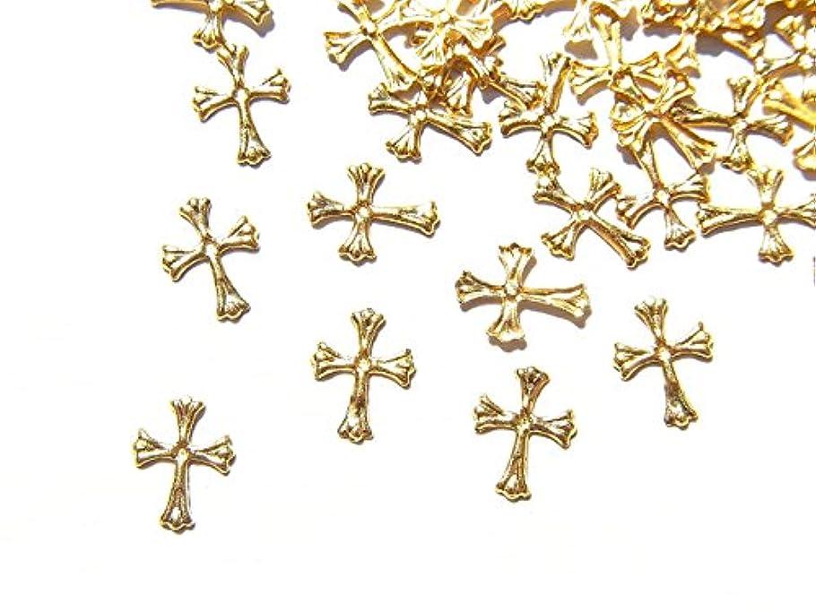 データ処方するメンダシティ【jewel】ゴールド メタルパーツ クロス (十字架) 10個入り 6mm×4mm 手芸 材料 レジン ネイルアート パーツ 素材
