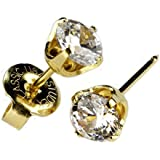 "Ear PIERCING Earrings Gold 5mm Clear CZ Studs""Studex System 75"" Hypoallergenic"