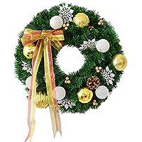 クリスマス リース クリスマスボールと弓ドアの窓のクリスマスの装飾と手づくりクリスマスリースの飾り ハロウィン 飾り デコレーション リース (色 : ゴールド, サイズ : 50cm)