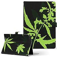 igcase d-01J dtab Compact Huawei ファーウェイ タブレット 手帳型 タブレットケース タブレットカバー カバー レザー ケース 手帳タイプ フリップ ダイアリー 二つ折り 直接貼り付けタイプ 011739 植物 花 緑