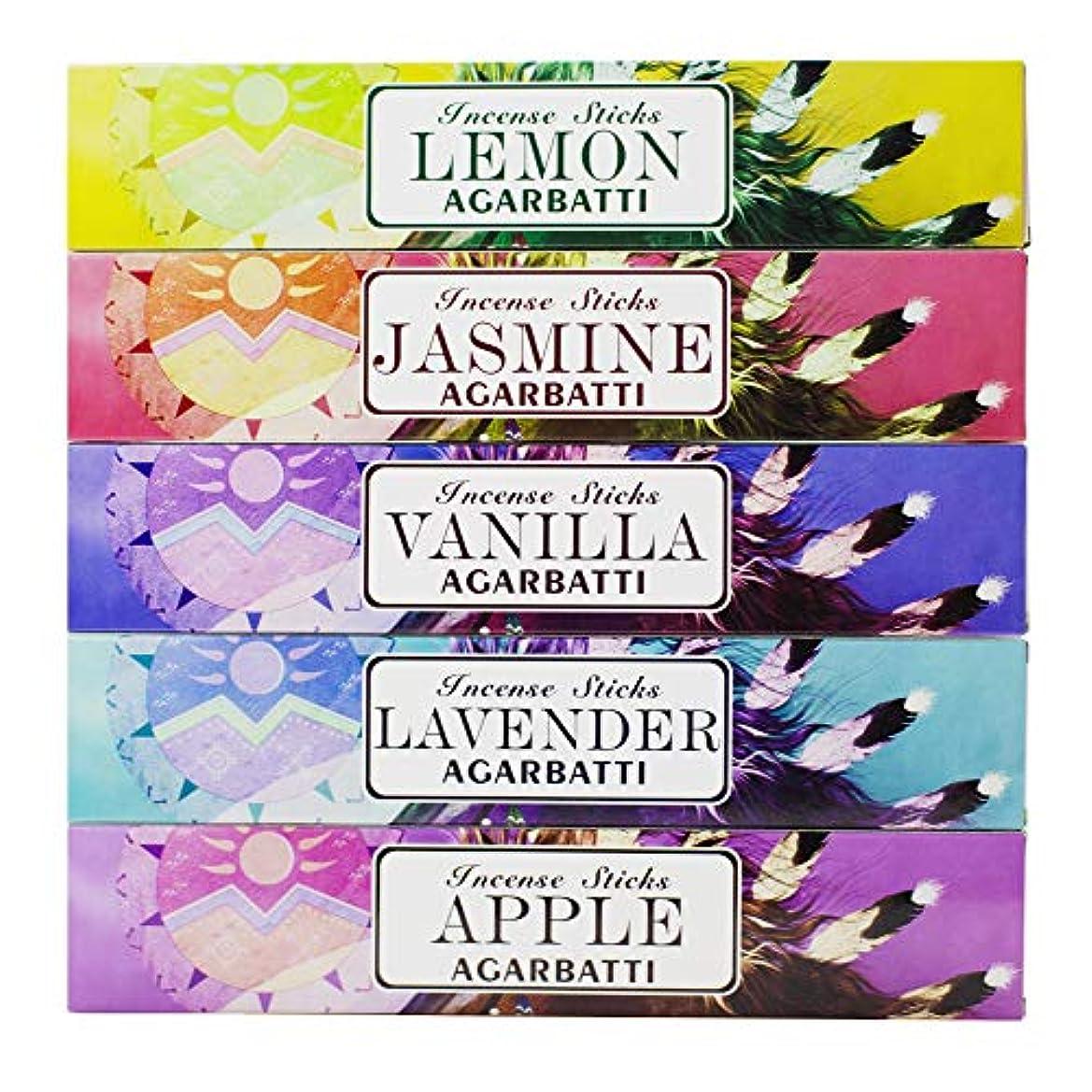 確認してください重力フィルタMosfantal プレミアム手染めお香スティック レモン、ジャスミン、ラベンダー、バニラ、リンゴ、バラエティギフトパック (240グラム)