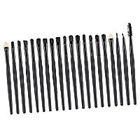 Perfk 約20本セット メイクアップブラシ コスメブラシ アイシャドウ コンシーラー アイライナー リップ 多機能 ソフト プロ 化粧初心者 基礎ブラシセット 2色選べる - ブラック