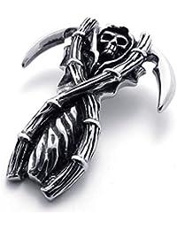 [テメゴ ジュエリー]TEMEGO Jewelry メンズステンレススチールヴィンテージペンダントゴシックスカル死神ネックレス、ブラックシルバー[インポート]