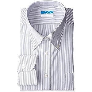【dresscode101】洗って干してそのまま着る メンズノーアイロンワイシャツ 長袖 超形態安定 綿100% 紺 ストライプ ボタンダウン L(裄丈82)