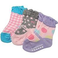 【日本製】プラチナムベイビー ベビー ソックス 3足 SET 靴下 (Sサイズ(11-13cm), ギンガムドロップSET)