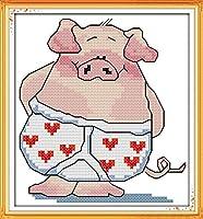 LovetheFamily 豚の小弟 19*21cm DIY十字刺繍 手作り刺繍キット 正確な図柄印刷クロスステッチ 家庭刺繍装飾品 11CT (インチ当たり11個の小さな格子) 刺しゅうキット ホーム オフィス装飾 手芸 手工芸 キット 芸術 工芸 DIY 手作り 装飾品(フレームレス)