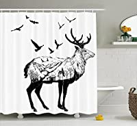 Deer Shower Curtain Set by Ambesonne, Mountain and Cottage Scenery in Hand Drawn Animal Flying Birds Countryside Wildlife Themed, Fabric Bathroom Decor with Hooks, 210cm Extra Long, Black White