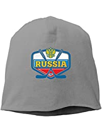 【Dera Princess】メンズ レディース ニット帽 Russia. Hockey.ロゴ コットン ニットキャップ 帽子 オールシーズン 被れる