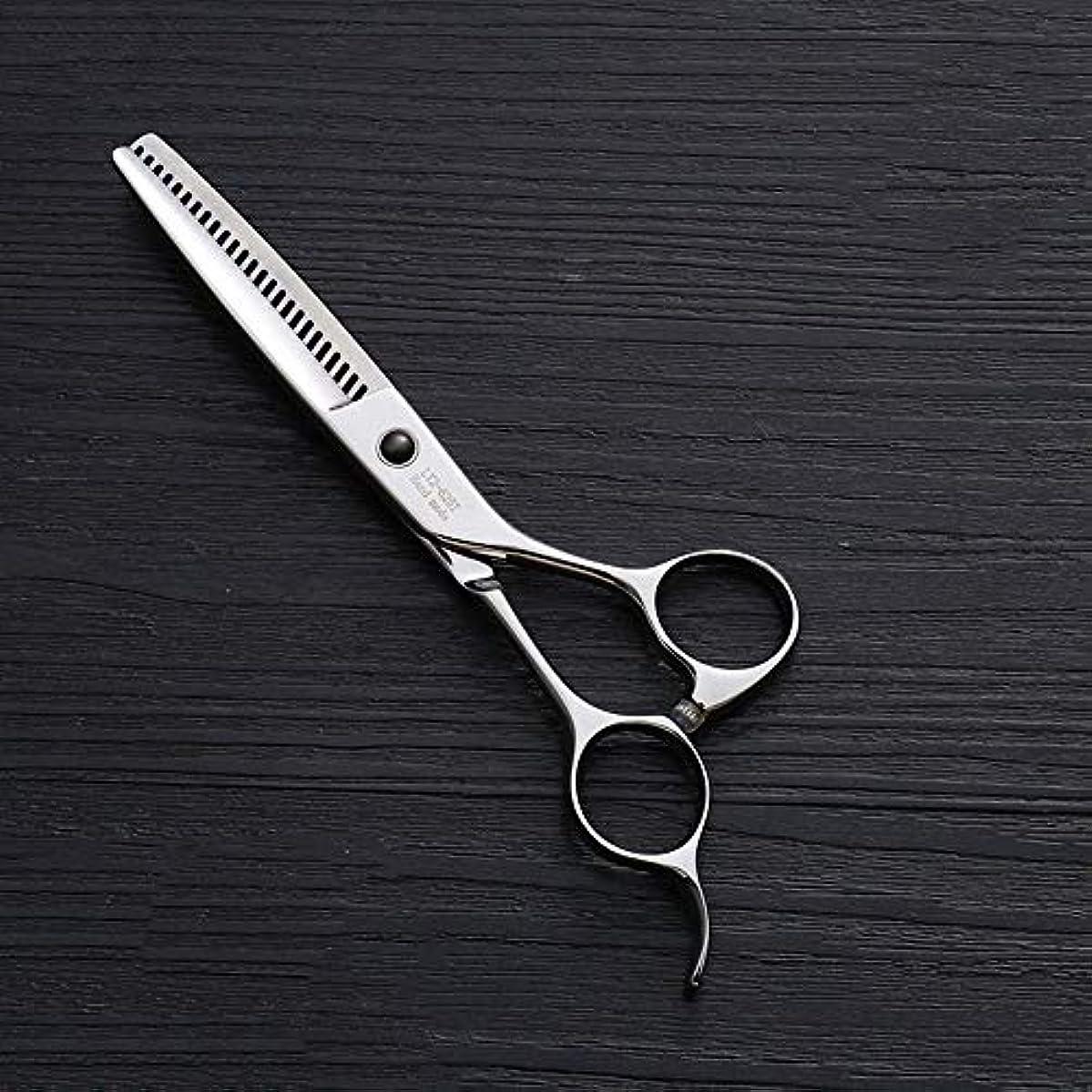 恐怖症ピクニック言い訳440Cステンレス鋼ハイエンドヘアカットツール、25歯T型6インチ美容院プロフェッショナル理髪はさみ ヘアケア (色 : Silver)