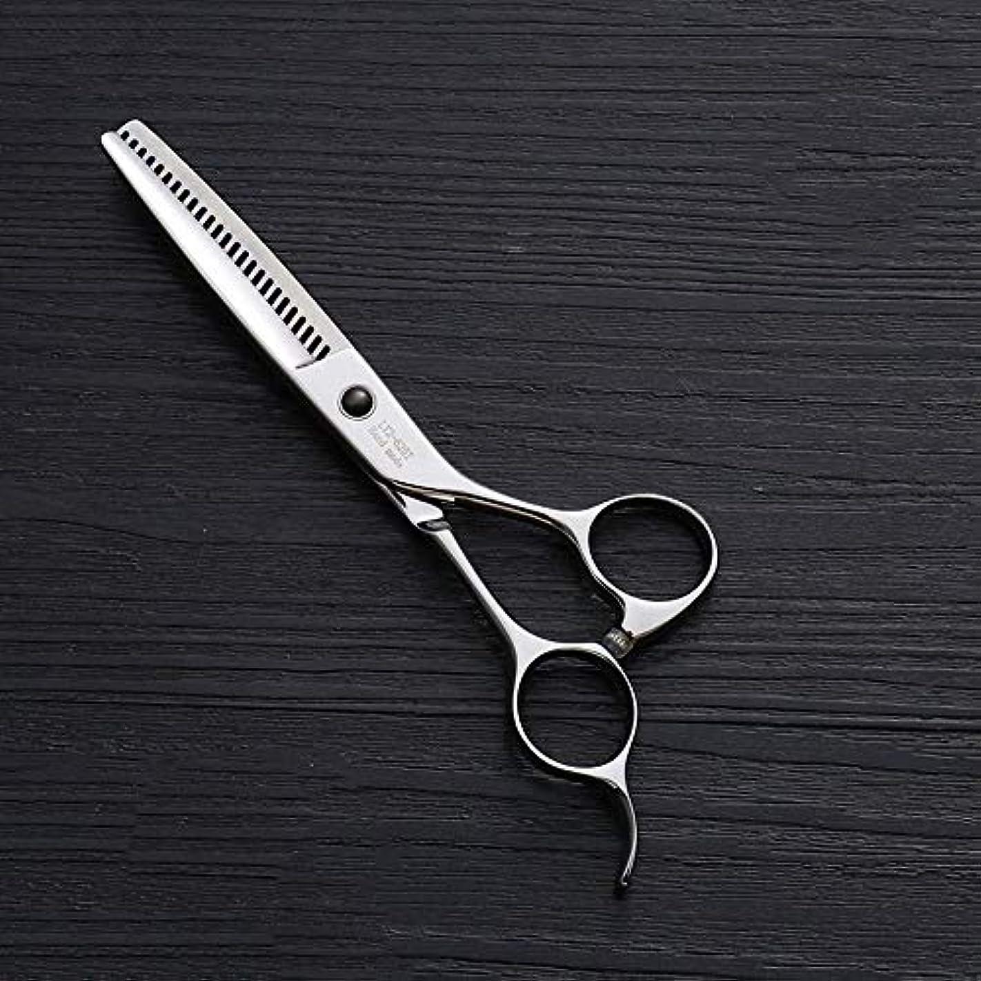 お手伝いさん事務所バンガロー440Cステンレス鋼ハイエンドヘアカットツール、25歯T型6インチ美容院プロフェッショナル理髪はさみ ヘアケア (色 : Silver)