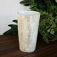 アジアン雑貨 シェルとガラスの卓上スタンド カピスホワイト 小物入れ ペン立て 歯ブラシスタンド 南国風