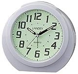 LANDEX アナログ目覚まし時計 レグルス・スター 全面蓄光 ホワイト YT5244WH