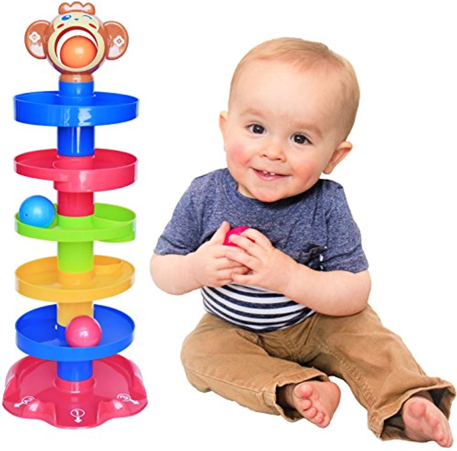 CC O Play Stackingペグwith additionalペグボードfor Toddlers – バンドルIncludes 50ペグ、2ペグボード、1ストレージバッグ – Bestモンテッソーリ教育玩具の子供と就学
