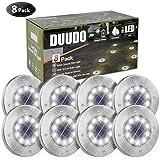 DUUDO Solar Ground Light, Upgraded 10 LED Garden Pathway Outdoor Waterproof Solar Garden Lights, Disk Lights (Cold White, 8 P