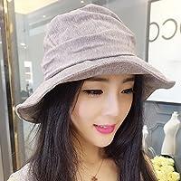GLJF 帽子漁師帽子盆地キャップ女性夏のバイザー帽子レジャー日焼け止め屋外旅行折りたたみ帽子 (色 : Purple gray)