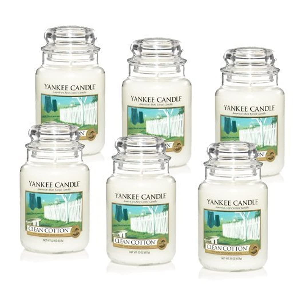 支店絶対のリズミカルなYankee Candle Company Clean Cotton 22-Ounce Jar Candle, Large, Set of 6 by Amazon source [並行輸入品]
