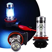 Sedeta 2個 LEDプロジェクター霧の駆動電球 H11 H8 100W LED 8000Kアイブルー2323