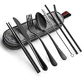 Cutlery Set, JR INTL Portable Stainless Steel Flatware Set, Travel Camping Cutlery Set, Portable Utensil Travel Silverware Dinnerware Set with a Waterproof Case (8-Pieces Flatware Set Black)
