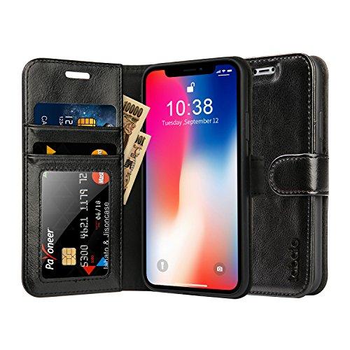 【オートスリープ付き】Labato iPhone X ケース 本革 QI ワイヤレス充電対応 手帳型 スタンド カード入れ アイフォンX カバー 省エネ20% 長持ち (ブラック lbt-IPX-02Z10)