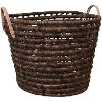 【メルカド かご収納雑貨の店】 メイズ ブラウンカラー ラウンド型 バスケット