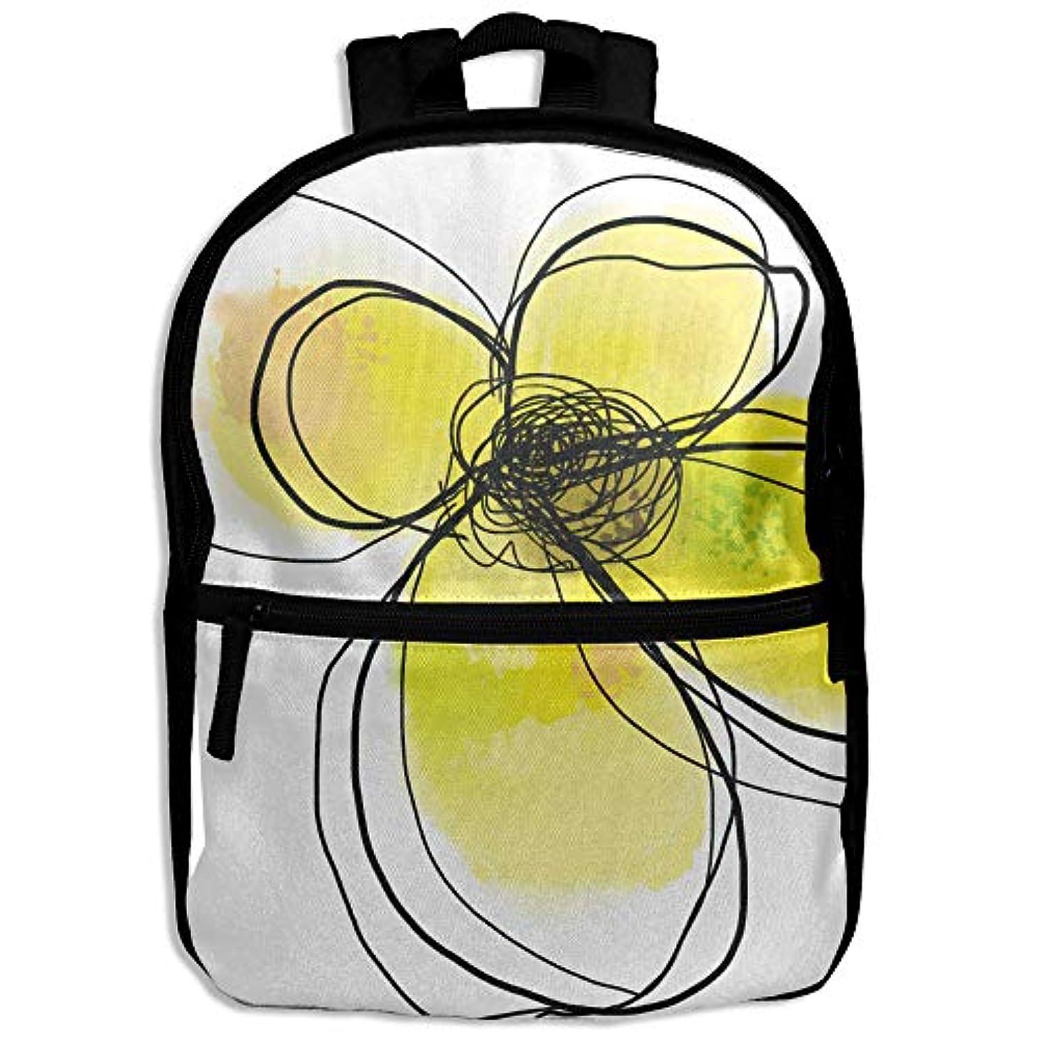 愛する土器有利キッズバッグ キッズ リュックサック バックパック 子供用のバッグ 学生 リュックサック イエロー 花びら アウトドア 通学 ハイキング 遠足