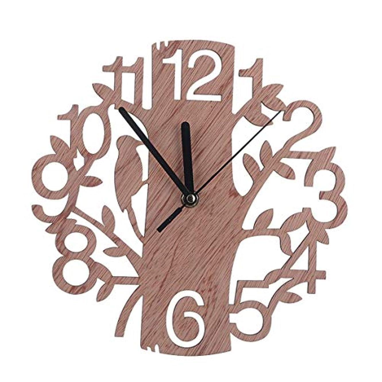 歩き回るメロンマイナス中空の木の装飾ラウンド木製アウトウォールクロックリビングルームホームオフィスオーナメントギフトウォールウォッチ-ウッド