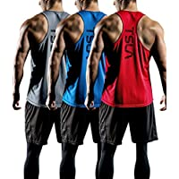 TSLA Men's (Pack of 1, 3) Dry Fit Y-Back Muscle Workout Tank Tops, Athletic Training Gym Tank Top, Sleeveless Bodybuilding Shirts