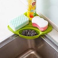 Chen ZhiShan シンク三角コーナー シンク水切りラック 物置きホルダー キッチン用品 プラスチック (グリーン)