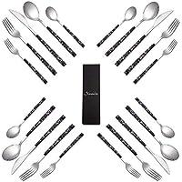Binniceブラックステンレス カトラリー20点セットスタイリッシュで耐久性のナイフ フォーク スプーン セット
