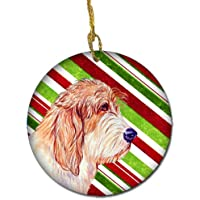 Carolines Treasures LH9262-CO1 Petit Basset Griffon Vendeen Candy Cane Holiday Christmas Ceramic Ornament