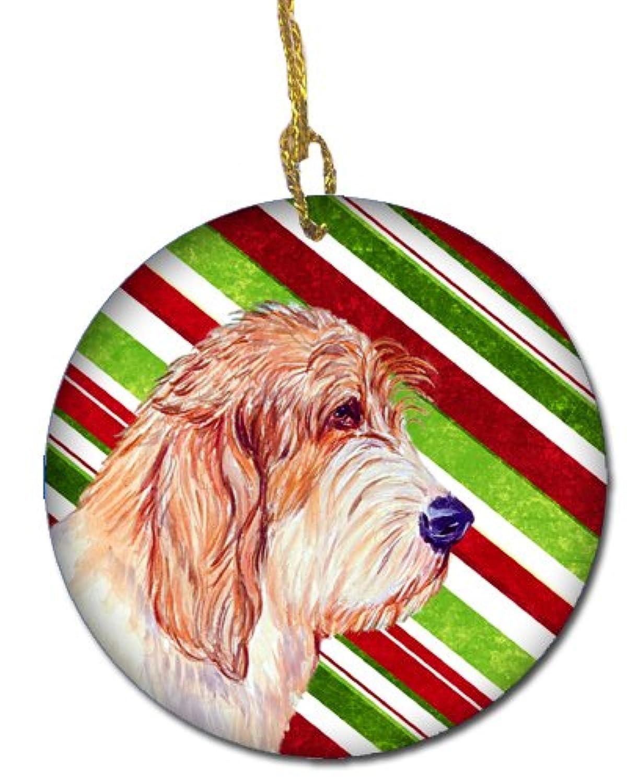 Carolines Treasures LH9262-CO1 Petit Basset Griffon Vendeen Candy Cane Holiday Christmas Ceramic Ornament